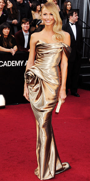 Stacy Kiebler in gold Marchesa gown