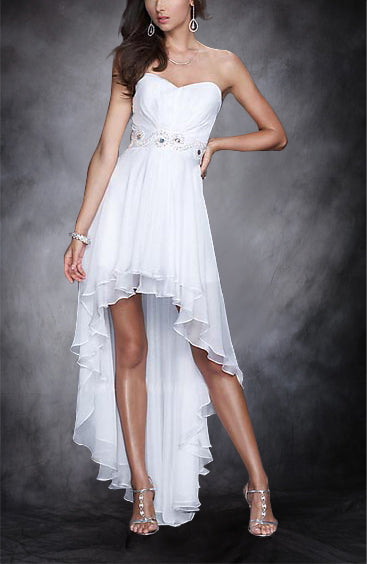 Sweetheart Beaded Band Asymmetrical Hemline Evening Wear. Style Code: 05658. US$109