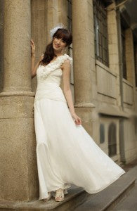 Frill One Shoulder Invert Basque Waist Chiffon Wedding Dress Style Code: 15694