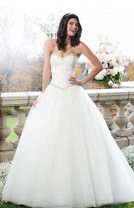 Beautiful Organza & Satin & Tulle Ball Gown Sweetheart Basque Waistline Wedding Dress Style Code: 13658 $217