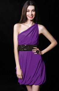 Sequined Belt A-Line Illusion One Shoulder Cocktail Dress Style Code: 14336 $119 | dresses for summer wedding guests