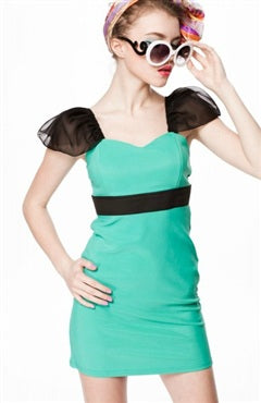 Tulle Bubble Shoulder Color Block Aqua Green Occasions Dresses, Style Code: 08631, US$94.00