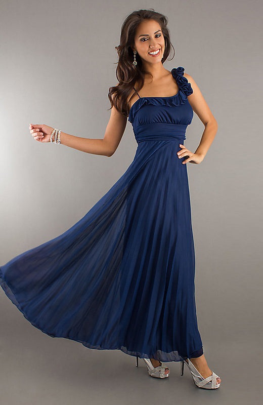 Asymmetrical Shoulder Frill Detail Pleated Maxi Dress, Style Code: 08699, US$89.00