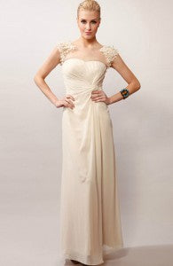 Lt. Champagne Illusion Floral Neck Chiffon Wedding Gown Style Code: 15506