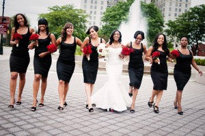 black stylish bridesmaid dresses