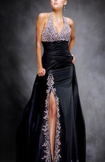 Sequins Halter Wide Ruched Waist Front Slip Black Tie Event Dress, Style Code: 00144, US$159.00