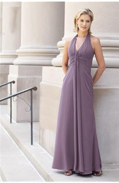 Halter Ankle-length Chiffon Purples Bridesmaid Dresses Style Code: 02009 US$79.00