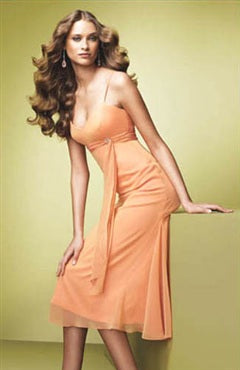 Oranges Spaghetti Straps Sheath Sleeveless Bridesmaid Dresses, Style Code: 01057, US$74.00