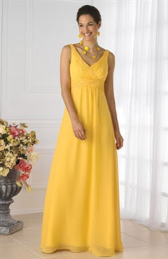Empire Sleeveless Floor length Bridesmaid Dress with Ruffles, Style Code: 02890, US$89.00