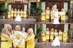 bridal party in yellow bridesmaid dresses