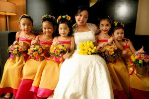 bride and flower girls in flower girl dresses