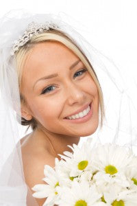 bride wearing crystal wedding jewelry