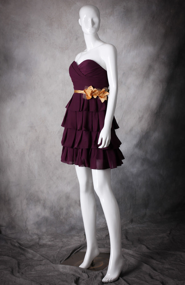 Flounce Tiered Flower Belt Cocktail Dress, Style Code: 10447, US$86.00