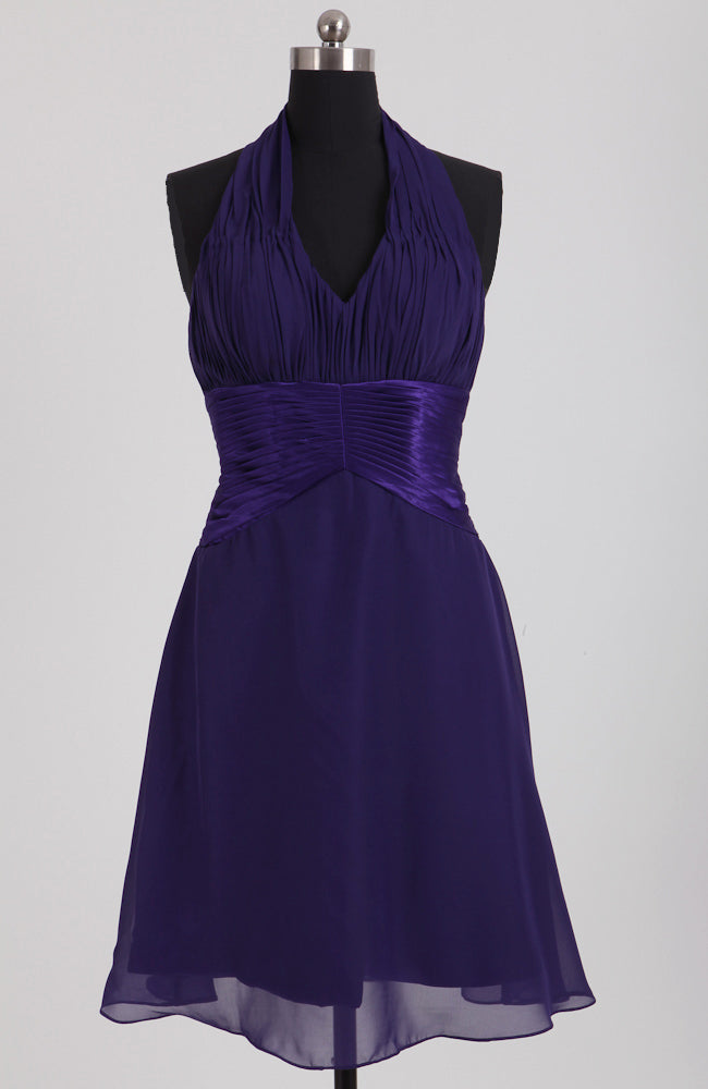Dark Blue Chiffon Ruched Top Halter Bridesmaid Dress, Style Code: 08095, US$79.00