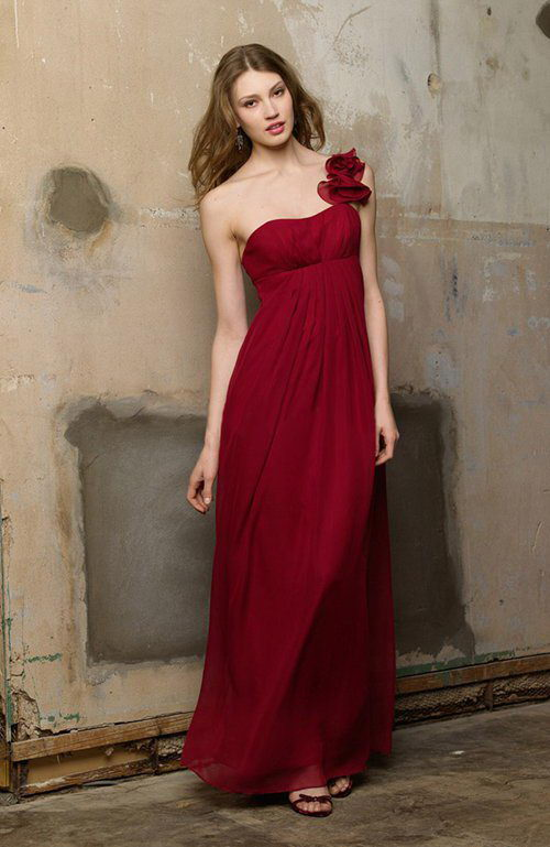 Dark Red Chiffon A-line Floor-length Sleeveless Reds One Shoulder Bridesmaid Dresses, Style Code: 07429, US$89.00