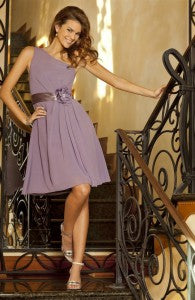 Pastel Purple A-Line One Shoulder Short Floral Bridesmaid Dress Style Code: 14199 $133.50 | dresses for summer wedding guests