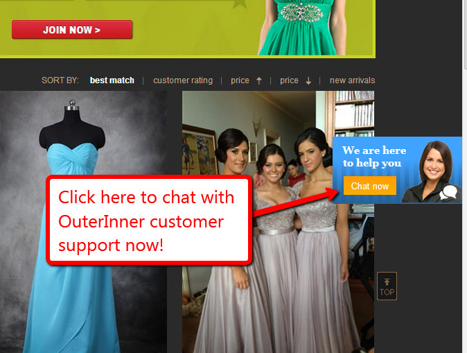chat live with outerinner customer support