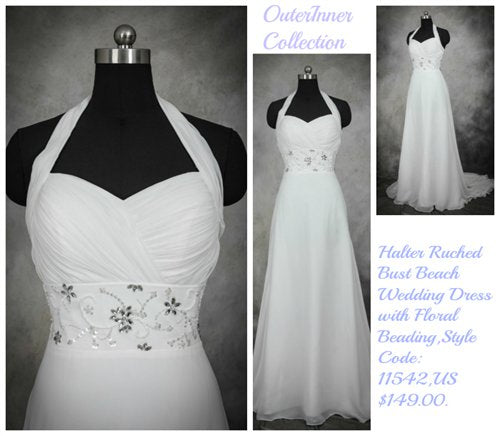 chiffon beach wedding dress 11542
