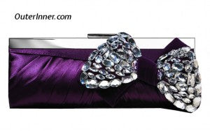 Purple Beading Bow Pleated Satin Clutch 10993