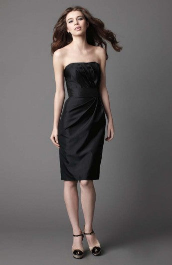 Strapless Column Knee-length Sleeveless Ruffles Little Black Dresses, Style Code: 05199, US$69.00