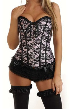 Pale Pink Lace Boned Corset, Style Code: 08750, US$19.99