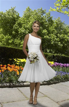 One Shoulder Wide Ruched Waist Knee-length Wedding Dress, Style Code: 08893, US$85.00