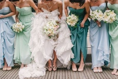 mismatching bridesmaid dresses with different hues of one color