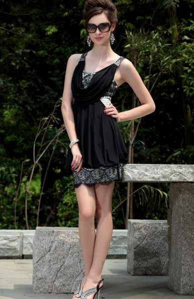 Front Draping Lace Detail Dress with Cross Back, Style Code: 08788, US$106.00