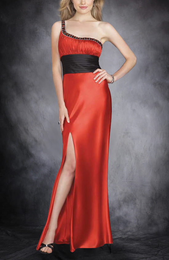 One Shoulder Beading Reds Sleeveless Black Tie Event, Style Code: 00472, US$119.00