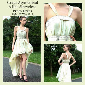 Straps Asymetrical A-line Sleeveless Quick Delivery Prom Dress Style Code: 03759