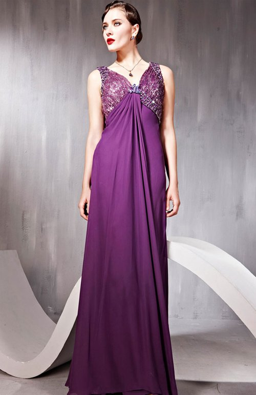 Sequins V-Neck A-Line Floor-length Quick Delivery Dress, Style Code: 07046, US$194.00