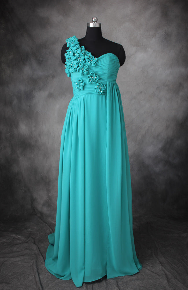 Floral Chiffon A-Line Floor-Length Bridesmaid Dress, Style Code: 10513