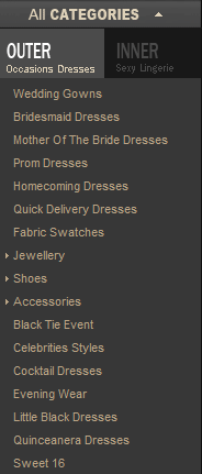 category drop down menu