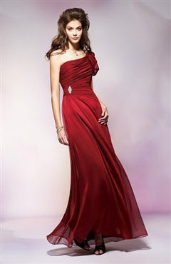 A-line Red Floor-length One Shoulder Sleeveless Evening Dress