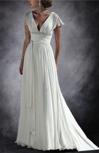 Lotus Leaf Sleeve Vintage V Neck&Back Wedding Dress Style Code: 11252