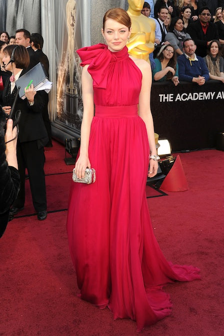 Emma Stone in red Giambattista Valli gown