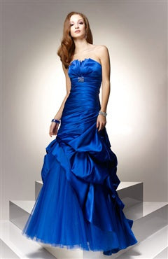 A-line Strapless Sleeveless Floor-length Ruffles Evening Wear, Style Code: 05125, US$144.00
