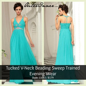Tucked V-Neck Beading Sweep Trained Evening Wear Style Code: 11062