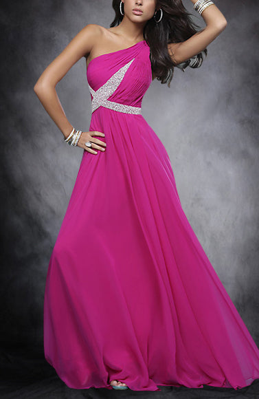 A-line One Shoulder Sweep/ Brush Train Sleeveless Evening Gown, Style Code: 05468, US$138.00