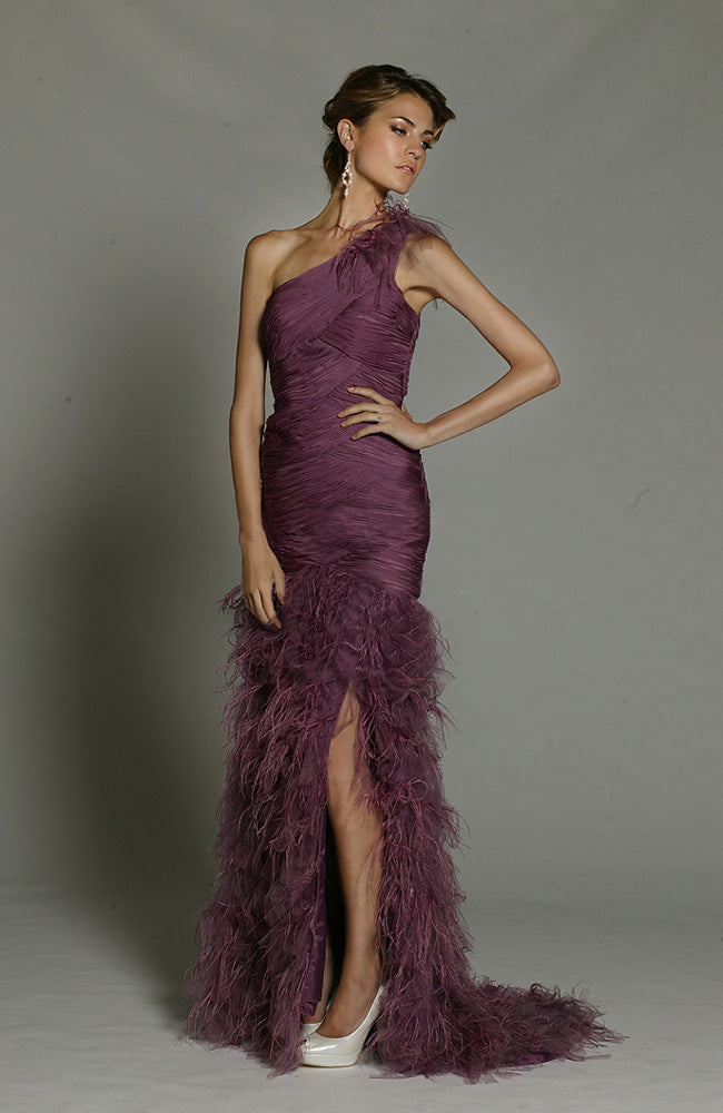 Feather Embellished Pleated One Shoulder Evening Dress Style Code: 15481 On sale $373.15