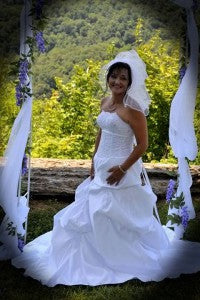 Michelle in her outerinner wedding dress