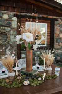 fall moss, gold painted mason jars with lace and wheat centerpiece