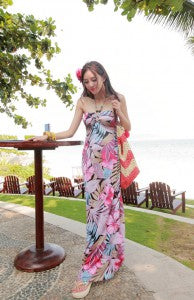 Floral & Leaf Printed Beaded Halter Bandeau Maxi Dress Style Code: 12749 Now $34.30