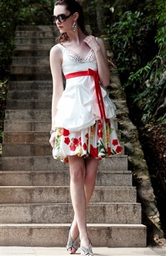 Beading Bust Floral Printed Dress, Style Code: 08790, US$159.00