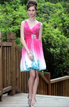 Faded Floral Bubble Hem Dress, Style Code: 08786, US$164.00