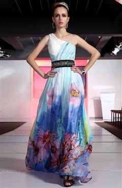 Sleeveless A-line White One Shoulder Floor-length Quick Delivery Dresses, Style Code: 06346, US$249.00