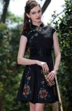 Printed Cheongsam Top Black Cocktail Dress, Style Code: 08794, US$124.00