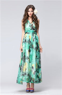 V Neck Floral Print Lace Back Wrap Maxi Dress, Style Code: 08806, US$129.00