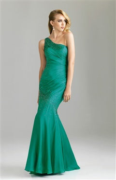 One Shoulder Mermaid Floor-length Fishtail Dress With Beading Details
