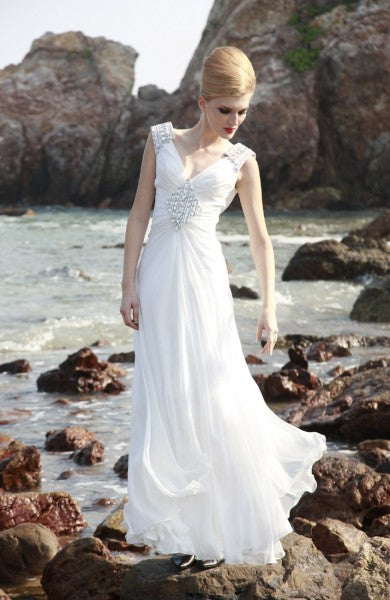 Sleeveless V-neck A-line Floor-length Quick Delivery Dresses, Style Code: 04855, US$239.00
